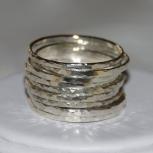 Set of 9 handmade hammered sterling silver rings