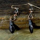 black spinel smokey quartz earring