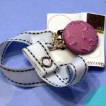 purple flower pacifier clip