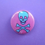 Blue Skull and Pink Stripes Pin