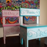 Hot Pink Bow Storage Chair & Turquiose Star Storage Chair