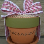 ::THE WINDOWSILL HERB POT� with Red & White & Green Stripe  Ribbon::