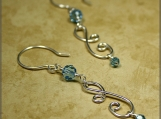 Aqua Crystal & Double Curves Silver Earrings