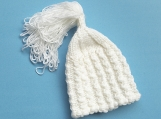 Baby Girl Bell-Shaped, Hand-Knitted Hat (White)