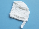 Baby Girl Hand-Knitted Hat (White)