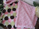 Baby Custom Stroller/lap Blanket boutique Disco Polka dot Minky rosebud Personalized embroidery