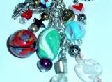Large Chain Zipper Pull Charm OOAK  Glass Beaded Purse Back Pack Charm