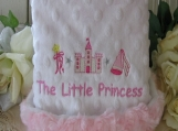 MInky Blanket Baby blankie lovie Princess theme Embroidery