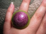 Pink and Green Resin Ring