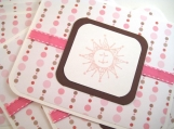 Whimsical Note Cards in Pink and Brown