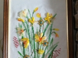 """Narcissuses"".picture embroidered ,cross-stitch   and ribon"