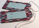 Fabric Luggage Tags Red,White & Blue