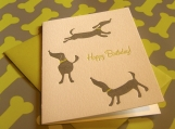Happy Dogs Birthday Card (Single Card, Letterpressed)