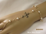Flower Bracelet Slave Bracelet 14kt Gold Plated Cross