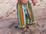 ANKLE BITERS - Cabana Striped with Green Elephants - Baby or Toddler Pants - As Featured on Cuteable