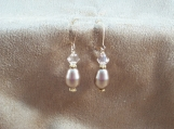 Neutral colored Swarovski crystal pearls and bicones earrings