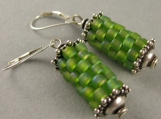 prayer wheel earrings in chartreuse