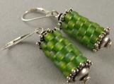 prayer wheel earrings in chartreuse