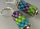prayer wheel earrings in lavender, chartreuse and teal
