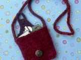 Small Red Felted Bag Pouch