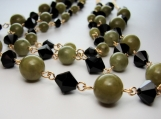 Tri band Olive Jade and Black bicone cystal necklace