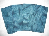 Turquoise-Teal Cotton Batik Napkin Set - reversible/ two-ply (4 napkins)