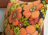 Vintage Fabric Pillow Cover Orange and Black Flowers