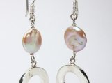 950 Sterling Silver Pearl Button Earrings Dangle