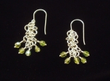 Chain Maille Earrings with Czech Glass Beads