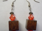 Coral Crystals with Wooden Block EARRINGS