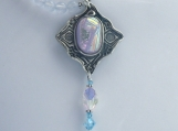 Serenity Fine Silver, Fused Dichroic Glass, Chalcedony, and Swarovski Crystal Necklace