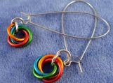 Rainbow Moebius Flower Chainmaille Earrings