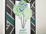 Green Balloons Blank Birthday Card
