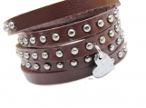leather wrap bracelet with silver HEART