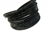 Swarovski like crystals P.U leather wrap bracelet