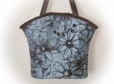 Tootles Boutique Bag - Blue Grey Tafetta Designer Fabric