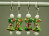 Green Bow Tie Cloisonne Stitch Markers with Freshwater Pearl - Set of 4