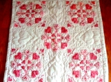 Vintage Pattern Red Heart Lap Quilt