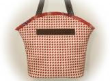 J Castle Boutique Bag - Red Cream Canvas Houndstooth Designer