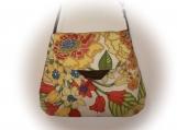 J Castle Crossbody Bag - Floral Tan Thick Canvas Designer Fabric