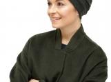 Soft warm chemo headwear, chemo hat - olive green