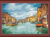 Boats On The Grand Canal Cross Stitch Pattern