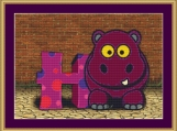 H Is For Hippopotamus Cross Stitch Pattern