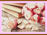 Pink Roses And Old Books Cross Stitch Pattern