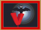 V Is For Vampire Bat Cross Stitch Pattern