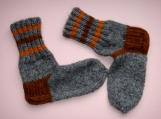 Winter-Warm Wool Handknit Multi-Colored Ankle Socks