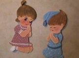 Darling Boy and Girl Praying Nursery Wall Hanging