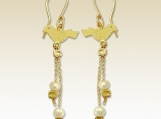 In love again - dangle 14k gold filled love birds earrings with fresh water pearls.