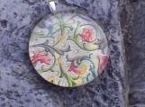 Large Round Glass Pendant - Italian Filligree