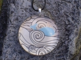 Large Round Glass Pendant - Whale